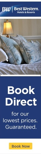 Best Western Hotels & Resorts Sidebar image there is a close-up shot of pillows on a bed, a glowing lamp in the background the image below reads Book Direct for our lowest prices. Guaranteed. Book Now