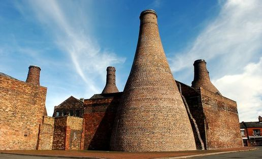 Exterior of Gladstone Pottery Museum showing its iconic funnel chimney