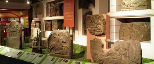 Roman Tombstones on display in the Grosvenor Museum, each of the Roman Soldier's Tombstones has reliefs carved into them depicting various heroic deeds and actions