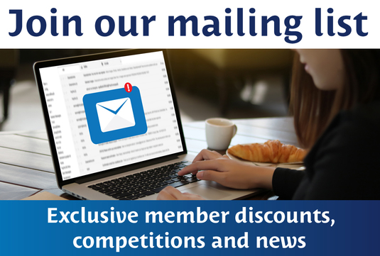 Woman accessing her emails framed by copy that reads Join our mailing list Exclusive member discounts, competitions and news
