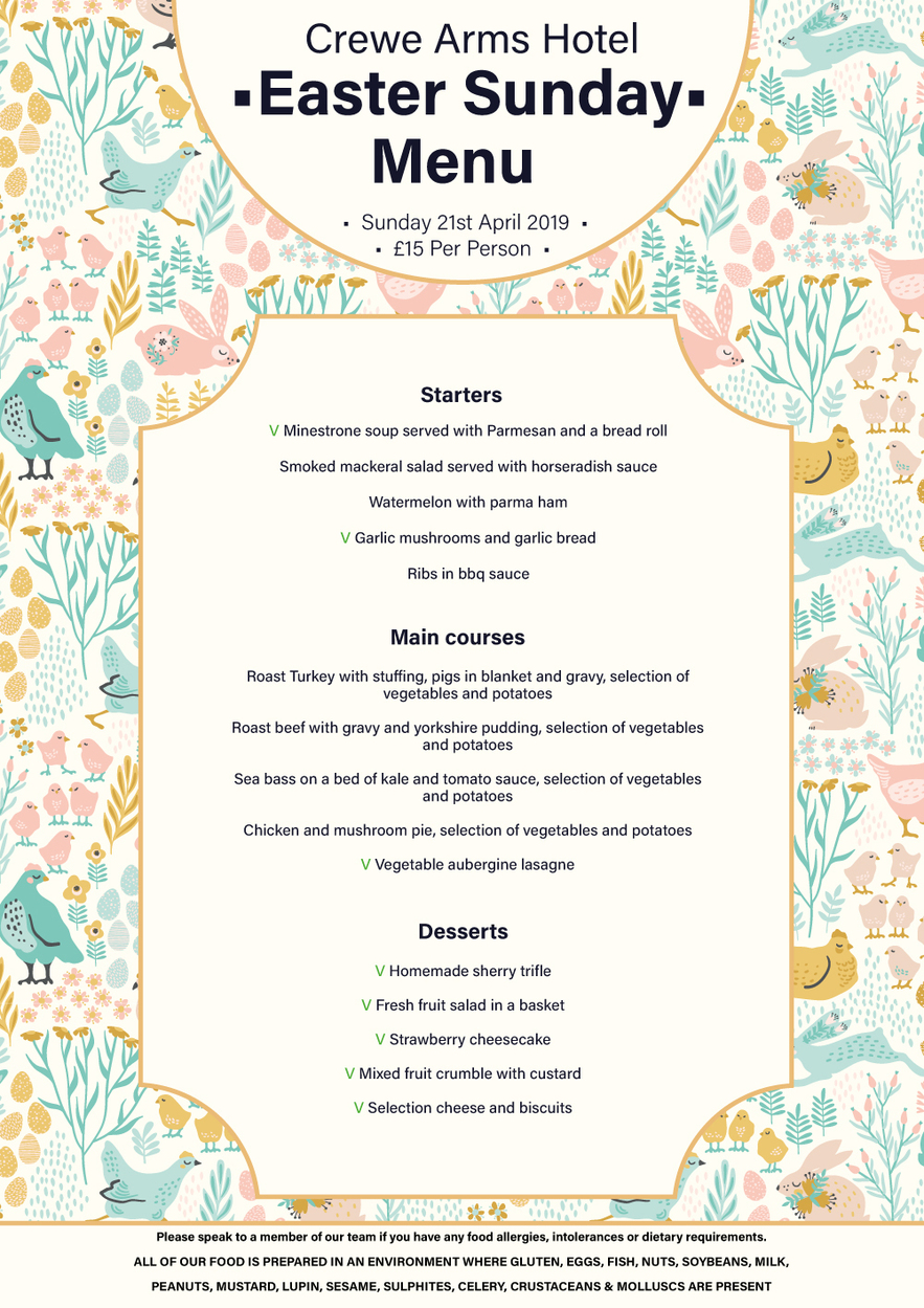 Easter Sunday Menu at Crewe Arms Hotel