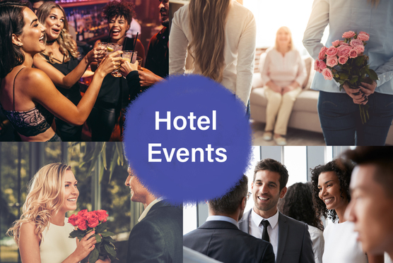 "A collage image showcasing potential events, organisations and special days at Crewe Arms Hotel. Overlayed on top is text that reads ""Hotel Events"""
