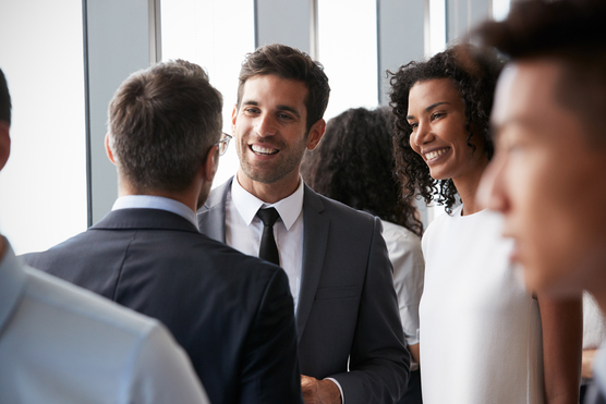 Business people at a networking function