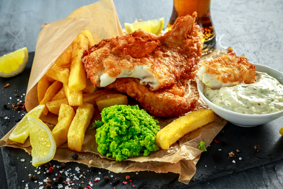 Fish and Chips, Mushy Peas, Tartare Sauce