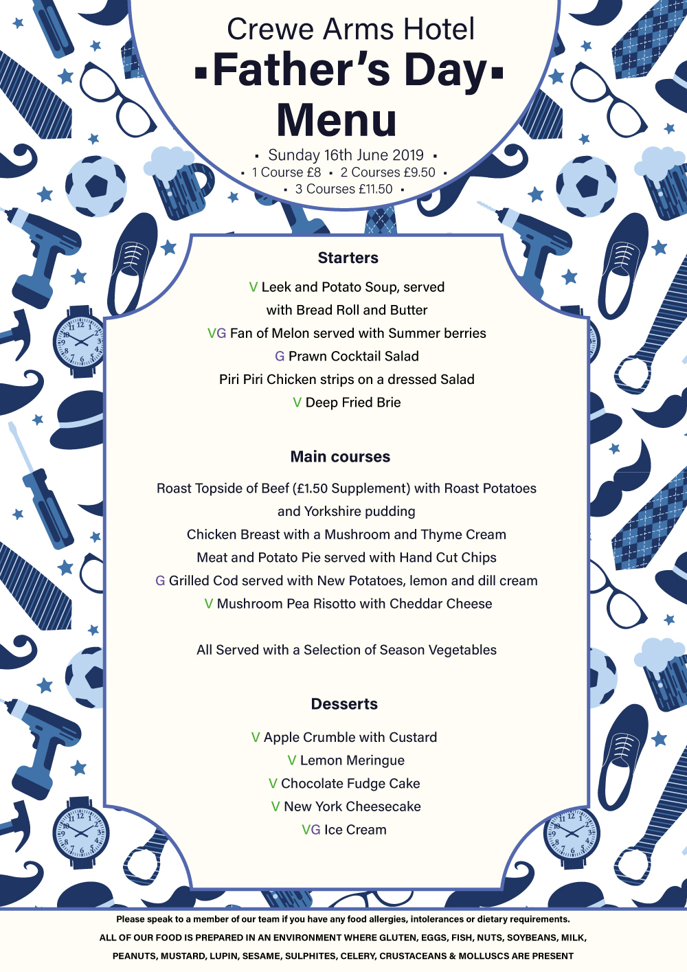 Crewe Arms Hotel Father's Day Menu