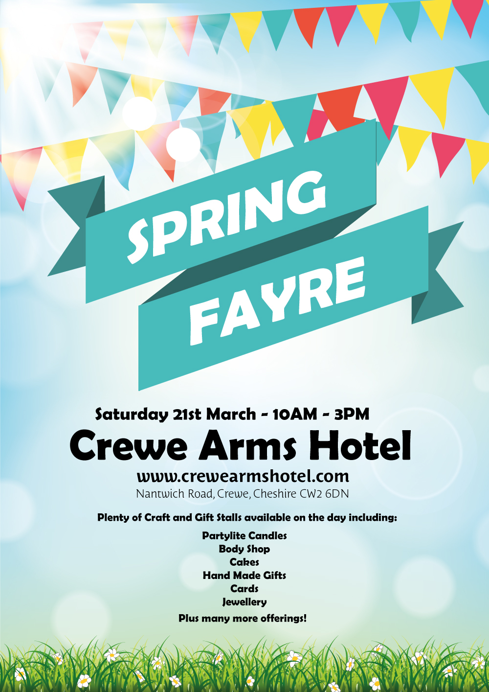 Spring Fayre poster for Crewe Arms Hotel